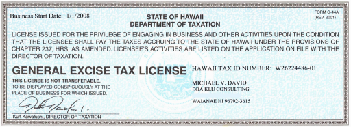 State of Hawaii Department of Taxation form G-44A (Rev. 2001): General Excise Tax License
